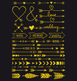 gold wedding arrows set vector image vector image