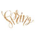 golden glittering font of word spring on white vector image vector image