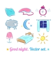 good night set vector image