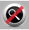 gray chrome button - no magnifier vector image vector image