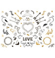 Hand drawn vintage decorative elements with vector image vector image