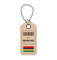 hang tag made in mauritius with flag icon isolated vector image vector image