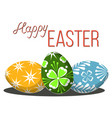 happy easter poster three egg set on white vector image vector image