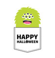 happy halloween green fluffy monster silhouette vector image vector image