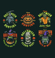happy halloween vintage colorful emblems vector image vector image