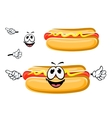 Hot dog sandwich cartoon character vector image