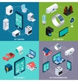 Iot 4 isometric icons square banner vector image vector image