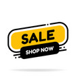 label template sale with button shop now flat vector image vector image