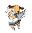 lovely dog with wings in beautiful clothes with a vector image