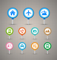 Map Pins with Transportation icons set vector image vector image