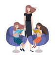 mother and daughters sitting in chair avatar vector image vector image
