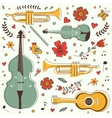 Musical instruments colorful collection with vector image