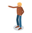 old man hand up icon isometric style vector image