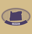 Oregon map silhouette - oval stamp vector image