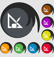 Pencil and ruler icon Symbols on eight colored vector image vector image