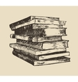 pile stack old books vintage hand drawn vector image
