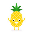 pineapple cute fruit character vector image