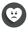 Sad heart face sign icon Sadness symbol vector image