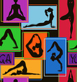 seamless pattern yoga poses vector image