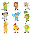 set cute kids wearing animal costumes vector image vector image