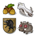 set isolated of wild boar theme and acorn vector image vector image