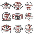 set of bass fishing emblem templates isolated on vector image vector image