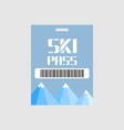 ski pass blank ski pass template vector image