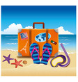 tourist suitcase with stickers on beach vector image