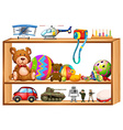 Toys on wooden shelves vector image