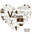 Vietnamese symbols in heart shape concept vector image vector image