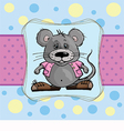 baby card with a mouse on a blue background vector image vector image