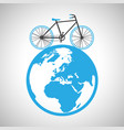bicycle around the globe vector image