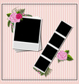 blank photoframes on pink background with roses vector image vector image