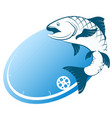 blue fish and fishing rod vector image vector image