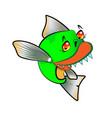 cartoon funny piranha pacu fish symbol vector image vector image