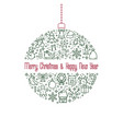 christmas and new year line icon xmas ball vector image vector image