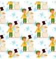 christmas kid boy character playing winter vector image
