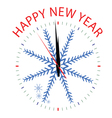 clock with snowflake for new year vector image