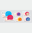 collection of colorful snail stickers cute vector image