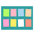 colorful paper notes with pins on green background vector image