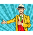Confident pop art hipster man invites you to the vector image vector image