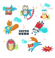 cute little superhero animals isolated vector image vector image