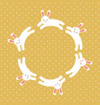 cute white bunny circle decoration vector image