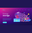 energy storage concept landing page vector image vector image
