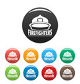 firefighters helmet icons set color vector image vector image