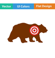 Flat design icon of bear silhouette with target vector image vector image