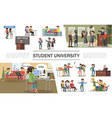 flat students in university composition vector image vector image
