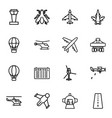 flight icons vector image vector image