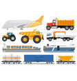 freight transportation set cargo shipping vehicle vector image vector image