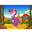 funny tyrannosaurs cartoon with volcano vector image vector image